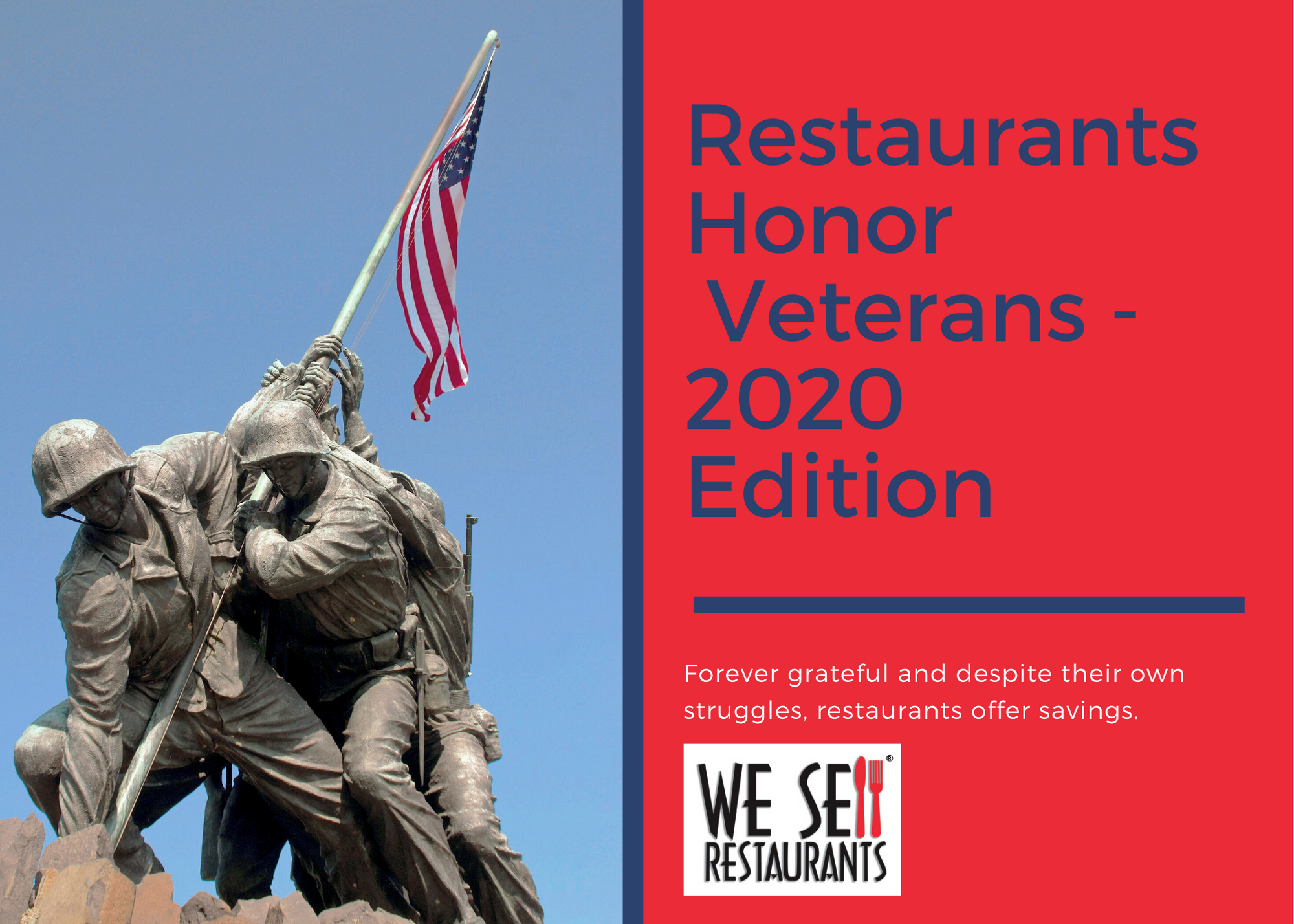 Thanking Veterans - Restaurants Offer Specials - 2020 Edition